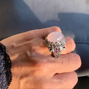 Jewelry - Sterling Silver Rose Quartz Ring with Ruby accents